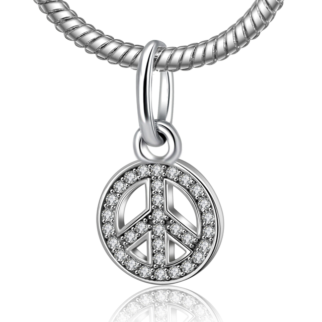 Authentic 925 sterling sliver bead charm peace sign with full authentic 925 sterling sliver bead charm peace sign with full crystal pendant beads fit pandora bracelet mozeypictures Gallery