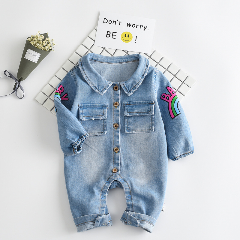 2017 denim baby boys romper baby jumpsuit cowboy turn-down collar long sleeve toddler boys clothes girls overalls blue rainbow puseky 2017 infant romper baby boys girls jumpsuit newborn bebe clothing hooded toddler baby clothes cute panda romper costumes