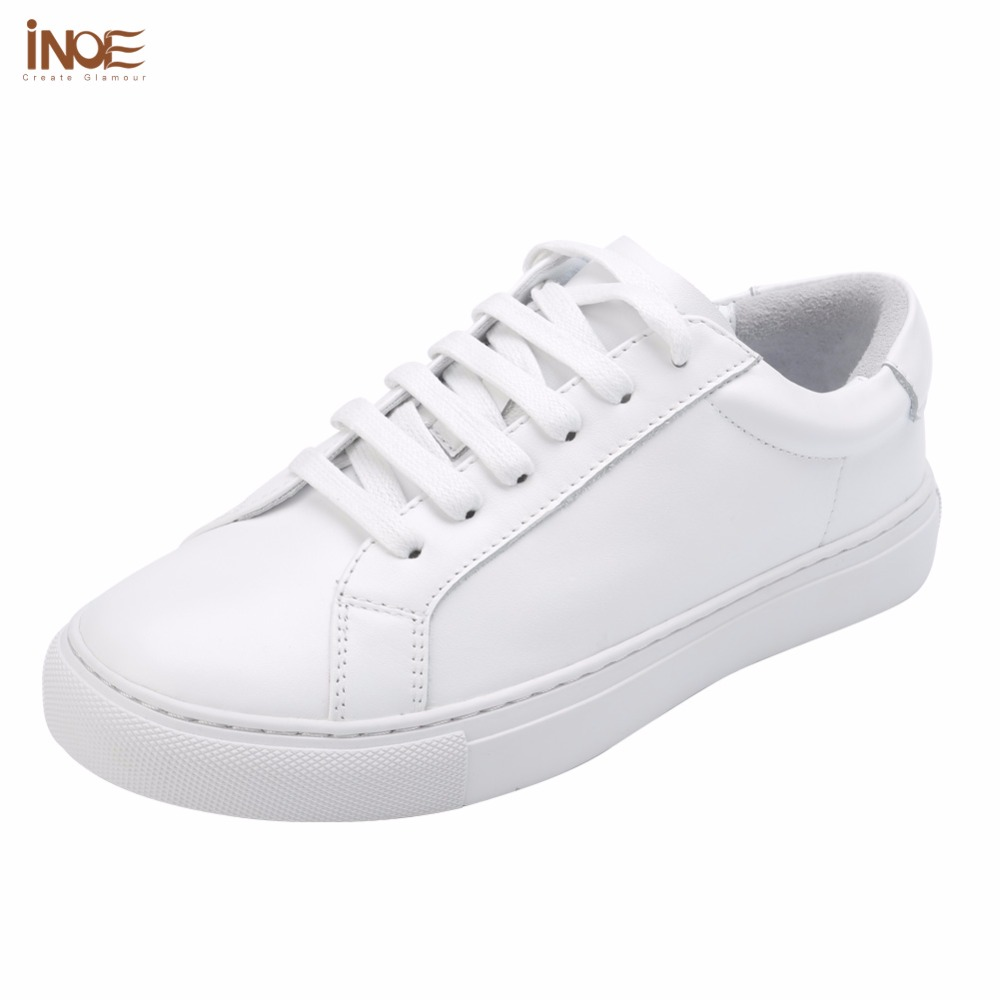 INOE fashion style women spring autumn sneakers leisure shoes flats real genuine cow leather woman casual loafers shoes white ribetrini summer large size 34 40 cow genuine leather woman shoes mix color leisure flats women shoes sneakers