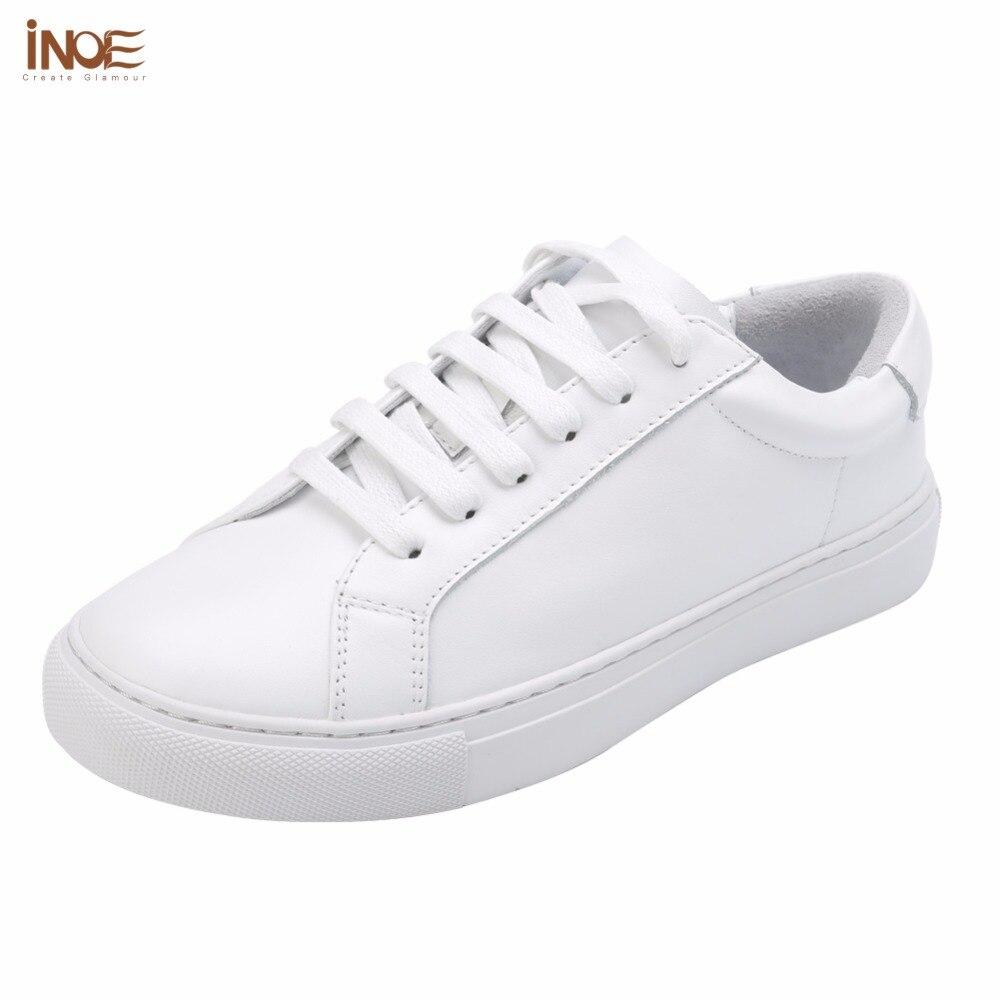 INOE style de mode femmes printemps automne sneakers loisirs chaussures appartements réel véritable vache en cuir femme casual mocassins chaussures blanc