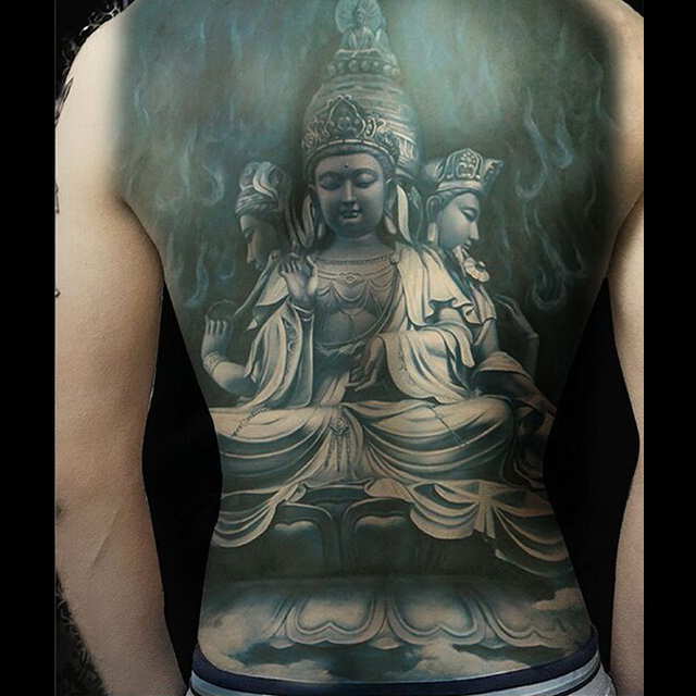 The Buddha Tattoos Designs Stickers Full Back Body Art Tattoo Men Temporary Tattoo Sticker Fake Tatoo