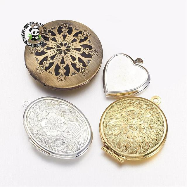 Brass locket pendants photo frame charms for necklaces mixed shape brass locket pendants photo frame charms for necklaces mixed shape mixed color mozeypictures Images