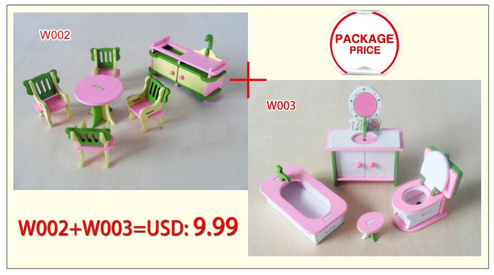 w01x005 2 setlot new children gift kids wooden toy furniture doll house