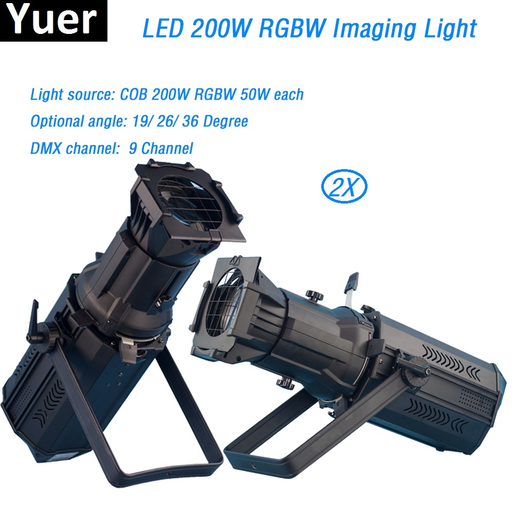 2Pcs/Lot COB RGBW 200W rgbw 4in1 Led Prefocus Profile DMX512 TV Studio Theater Stage Light Zoom follow Spot light led par light