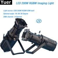 2Pcs/Lot COB RGBW 200W rgbw 4in1 Led Prefocus Profile DMX512 TV Studio Theater Stage Light Zoom follow Spot light led par light