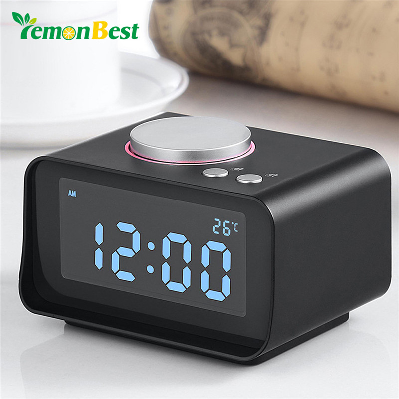 Symbol Of The Brand Smart Alarm Clock Multi-function Fm Radio Dual Alarm Clock Snooze Function Indoor Thermometer Dual Usb Port Charger Aux Function Home Decor