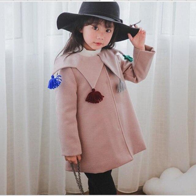 Muchachas de los cabritos de Lana Abrigos 2016 muchacha de la Manera de La Borla de Cinco Estrellas Turn Down Abrigos Princesa de Invierno Espesar Lindo Outwear Jacket