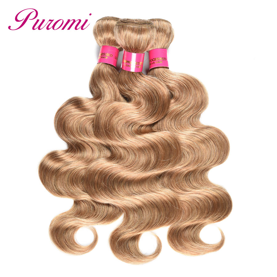 Puromi Body Wave Bundles Human Hair Weave Blonde Bundles 3pcs Brazilian Hair Pre Colored 27 Honey