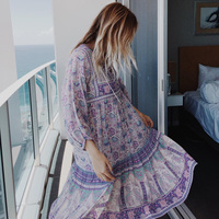 Jastie Gypsy Lilac Floral Print Dress V Neck Button Front Women Dresses Summer Boho Dress Loose Casual Beach Dresses Vestidos