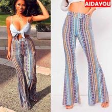 Women Striped Printed Pants New Boho Pant Flare High Stretchy Elastic Waist Fits Snugly Bohemia ouc229 aidayou