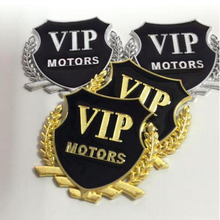 Car Sticker 3D Logo Car Door Window Chrome Emblem Badge Body Decal Motorcycle Metal Decoration DIY VIP Stickers Auto Products vip motors pattern metal car decorative stickers golden black pair
