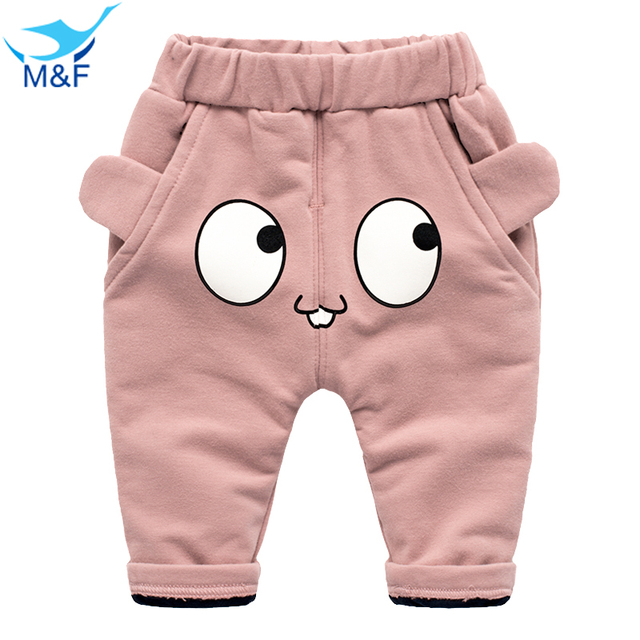 M&F Baby Winter Pants Fashion Cute Big Eyes Newborn Infant Pants Warm Thick Boy and Girl Trousers Cotton Clothing For 4-24 M