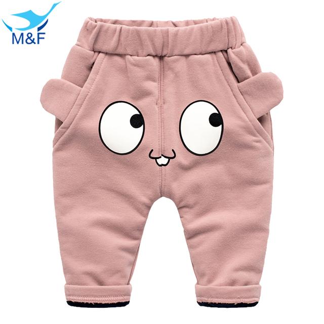 M & F Calças Do Inverno Do Bebê Moda Bonito Olhos Grandes Calças Bebê Recém-nascido quente Grosso Menino e Menina Calças Roupas de Algodão Para 4-24 M