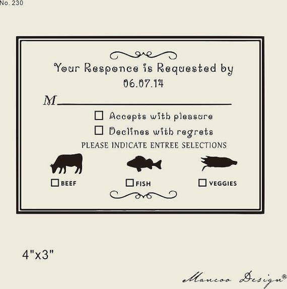 Custom Rubber Stamp 4 X3 Rsvp Diy Wedding Card To Create Response Cards