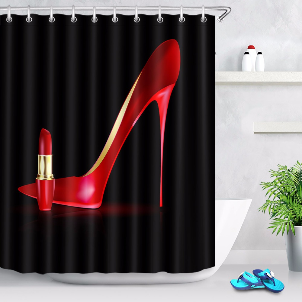 72 big red high heels lipstick on black shower curtain bathroom waterproof polyester fabric sets with hooks for bathtub decor