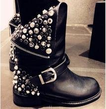 2016 Autumn Winter Top Selling High Quality Rivets Studded Riding Boots Back Zipper Crystal Round Toe Woman Ankle Leather Boots