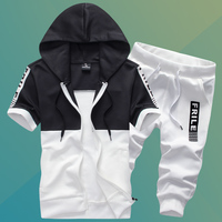 Summer Men's Short Sleeve Hooded Jackets and Pants S M L 3XL White Black Gray Teen Fashion Casual Movement Exercise 2 Piece Set