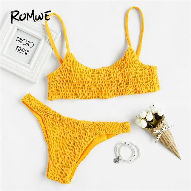 21869865e92fc Romwe Sport Push Up Shirred Bikini Set Yellow Women Swimming Solid Korean Bathing  Suit Swimwear 2018 Sexy Two Piece Bikini Sets