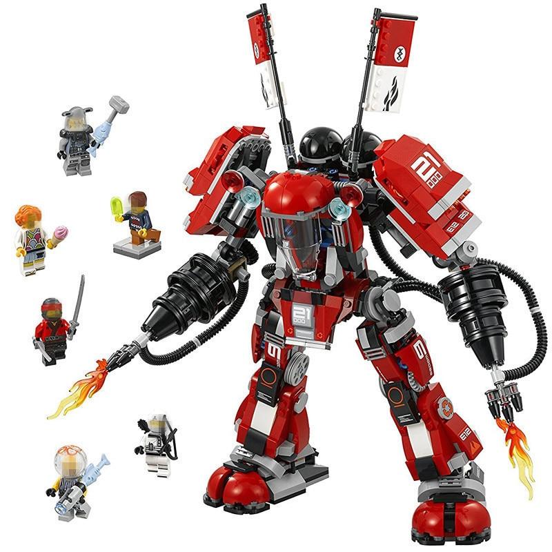 1010pcs Diy New Ninjagoes figures Fire Mech Battle Huge Robots Model Building Block Brick Toys for Children Compatible playmobil