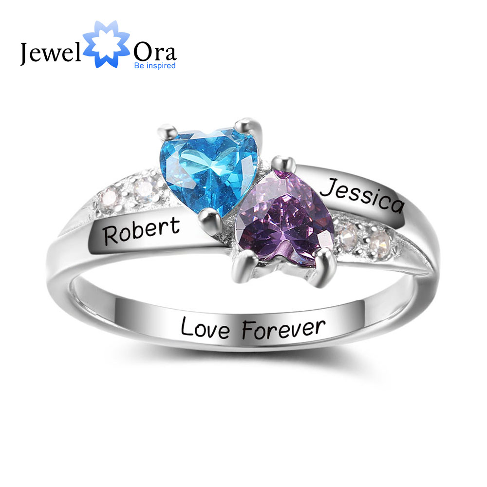 Personalized Engrave Birthstone Jewelry 925 Sterling Silver Double ...