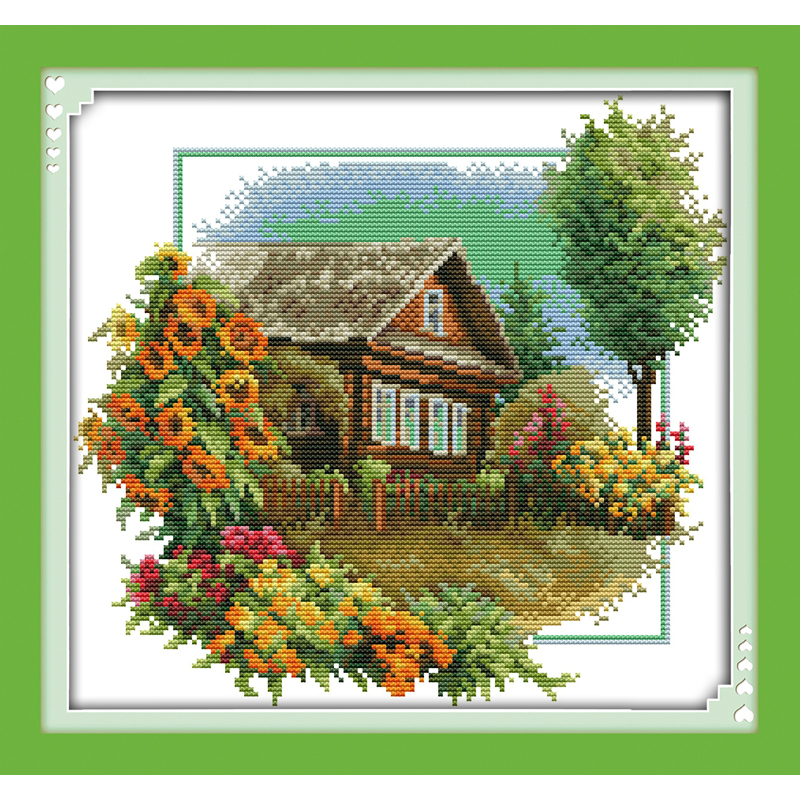 Everlasting Love Christmas House With Flowers Ecological Cotton Cross Stitch Stamped 11CT And 14CT Printed New Store Promotions