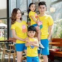 95 Cotton 5 Silk 2017 Summer Kids Cartoon T Shirt Family Matching Mother Daughter Clothes Father