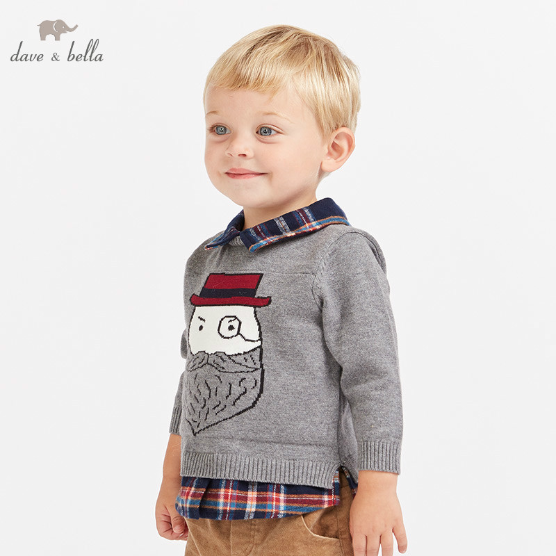 все цены на DB8840 dave bella autumn knitted sweater infant baby boys long sleeve pullover kids toddler tops children knitted sweater