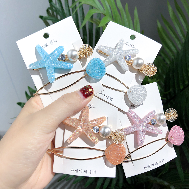 New 1Set=2PCS Girls Cute Colorful Starfish Shell Hair Clips Children Hairpin Barrettes   Headwear   Headband Fashion Hair Accessoies
