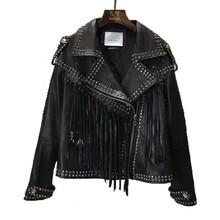 New Fashion Genuine Leather Jacket Women Winter Real Sheepskin Leather Coat Woman Rivet Tassels Jacket Ladies Female RL011
