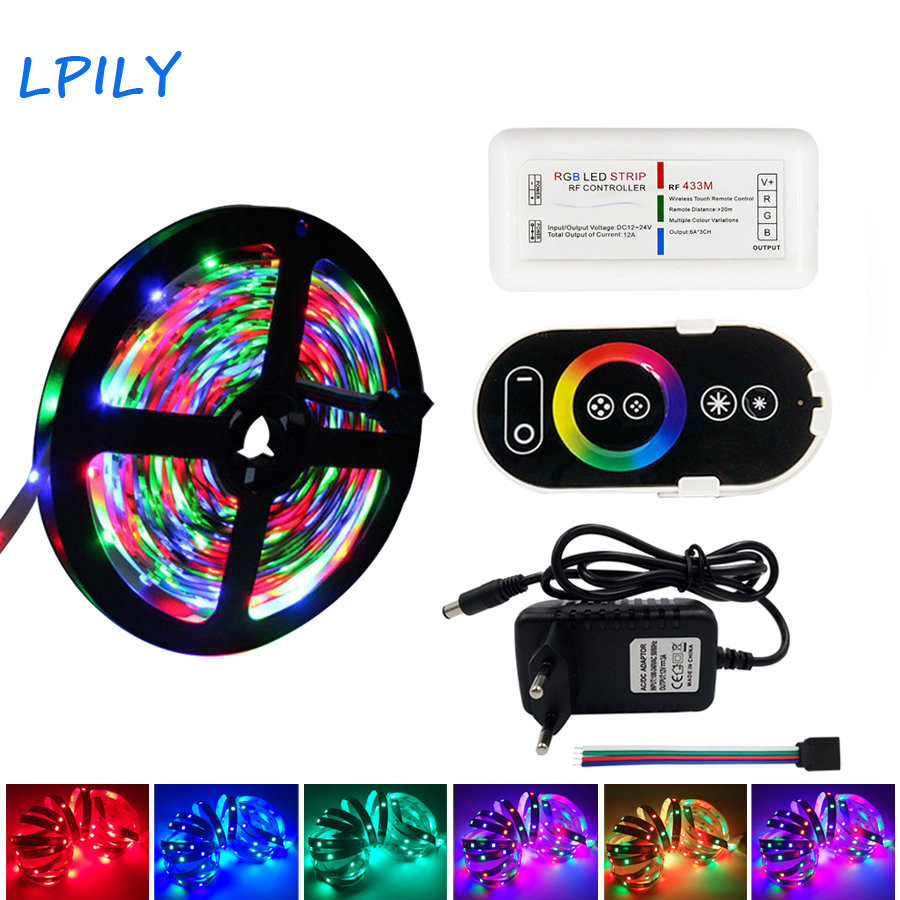 LPILY 2835 RGB LED Strip Waterproof 5M 10M DC 12V LED Light Strips Flexible Neon Tape with RF Remote led light strip ribbon led 10m 5m 3528 5050 rgb led strip light non waterproof led light 10m flexible rgb diode led tape set remote control power adapter