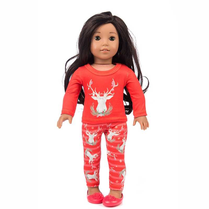"""Red Rudolph Christmas Reindeer Pant Set Fits 18/"""" American Girl Doll Clothes"""