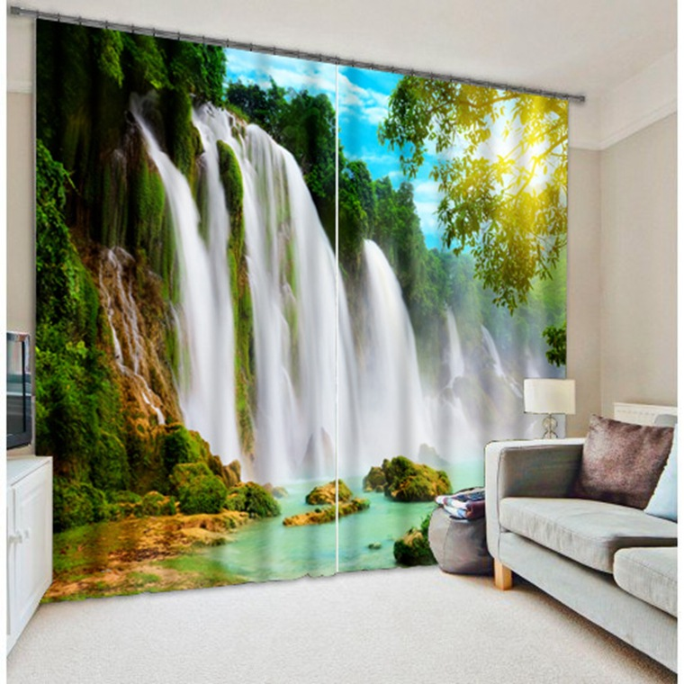 Shade Fabric 3D Falls Photo Printing Blackout Curtains For  Living room Bedding room  Hotel Drapes Cortinas para sala home decorShade Fabric 3D Falls Photo Printing Blackout Curtains For  Living room Bedding room  Hotel Drapes Cortinas para sala home decor
