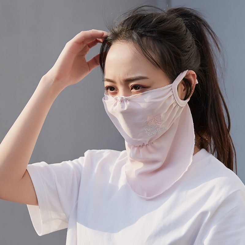 1pc Fashion Summer Spring Breathable Women Neck Protection Face Mask Sun Protective Shade Anti-dust Mask Mouth-muffle Mouth Mask