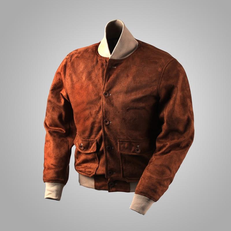 Suede USAF A1 Bomber Jacket Military Flight A-1 Jackets Polite Vintage Mens Moto Biker Short Outwear Brown
