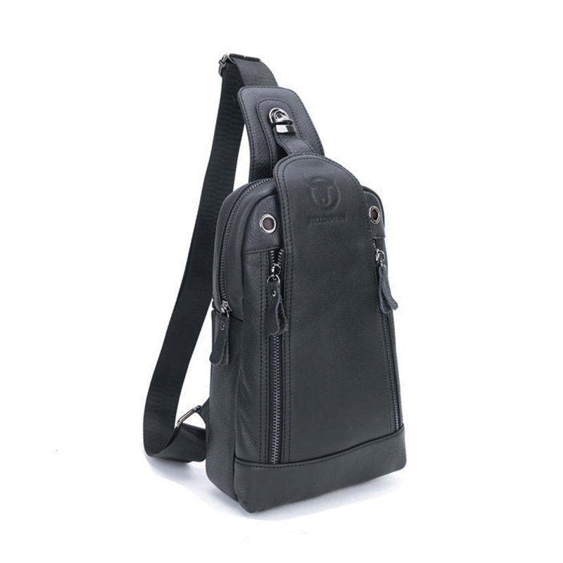 ФОТО Fashion High Quality Casual Men's Leather Chest Head Cake Travel Messenger Bag Music Crossbody Casual over Shoulder Men's Bag