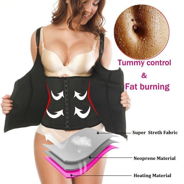 45a880fb227 NINGMI Slimming Top Waist Trainer Belt Women Firm Zipper Hook Tummy Control Body  Shaper Neoprene Sauna Vest Corrective Underwear