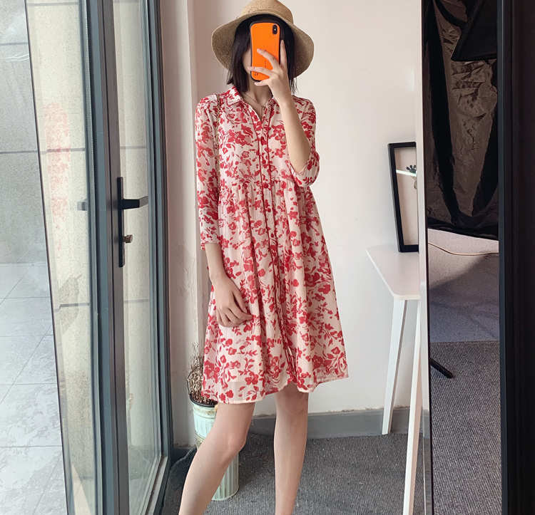 summer Women pink printing playful flow Dress Filigree floral print shiny threads mini dress for holiday