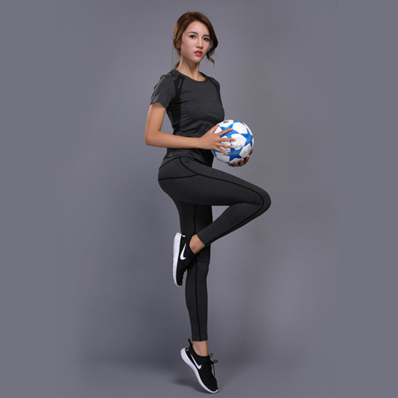 pas mal 79599 c0958 US $16.91 10% OFF|GXQIL Women Tracksuit Sportswear Woman Sport Suit Gym  Yoga Fitness Set Sport T shirt Leggings Top Running Jogging Female  Clothes-in ...