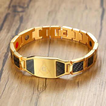 Vinterly Magnetic Bracelet Men Stainless Steel Health Energy Hologram Bracelets Gold-color Carbon Fiber ID Bracelet for Men 2018 - DISCOUNT ITEM  50 OFF Jewelry & Accessories