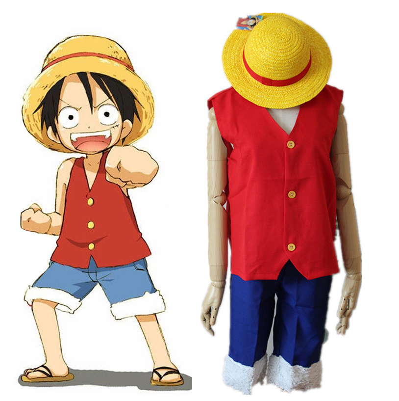 Us 23 37 15 Off Anime One Piece Monkey D Luffy Cosplay Costume Full Set Uniform Top Shorts Hat For Adult Halloween Costumes Size S Xxl In