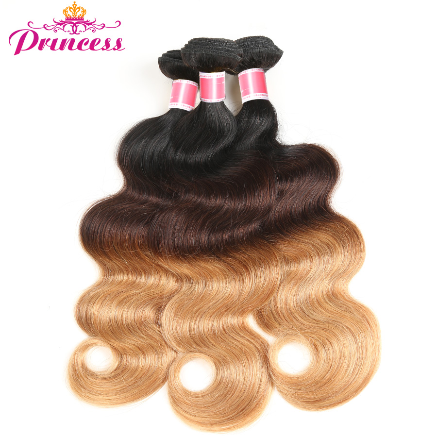 Objective Beautiful Princess Ombre Brazilian Hair Body Wave 3 Bundles T1b/4/27 Non Remy Human Hair Weave Pleasant In After-Taste Hair Extensions & Wigs