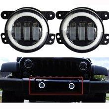 4 Pulgadas 60 W LED Faros de niebla Halo Angel Eyes 6000 K Off Road Faros Antiniebla para Wrangler JK 97-16 TJ LJ ATV (1 Par)