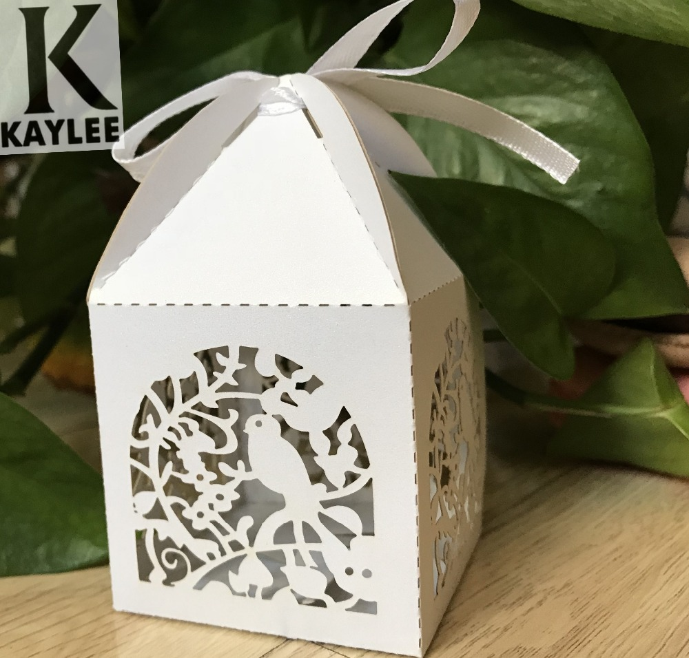 300pcs Wedding Candy Gift Packaging Boxes With Ribbonbird Wedding