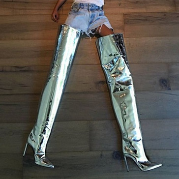 Zapatos knee over high knee Mujer Tacones as Patente Caballero Puntiagudos the 2018 As Altos De Pic Cuero Pic Botas agwHx6IqI