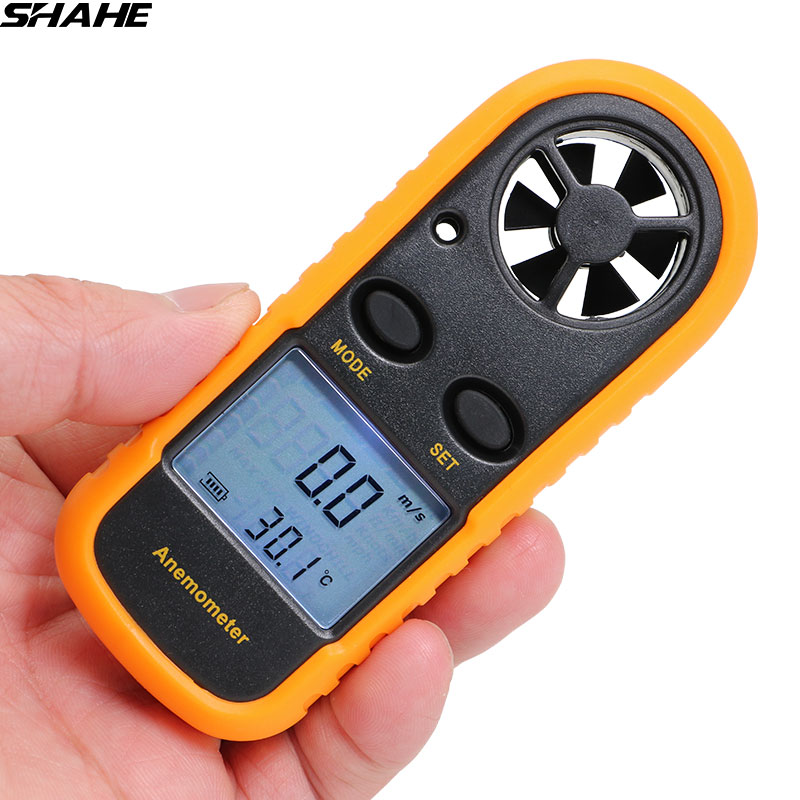 SHAHE Portable Digital Anemometer Thermometer 0-30m/s Wind Speed Meter -10 45C Temperature Tester Air Gauge Windmeter Handheld