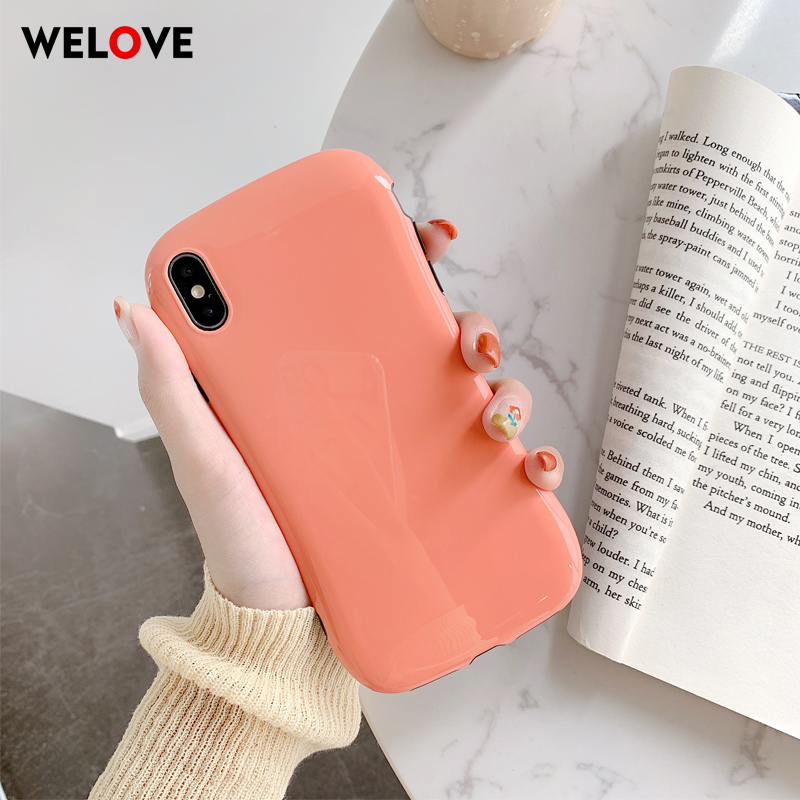 <font><b>luxury</b></font> Simple Solid Color Arc Phone <font><b>Case</b></font> For <font><b>iPhone</b></font> XS Max <font><b>case</b></font> Anti-fall Glossy For <font><b>iPhone</b></font> 6 7 8 Plus X XR XS Max Back Cover image