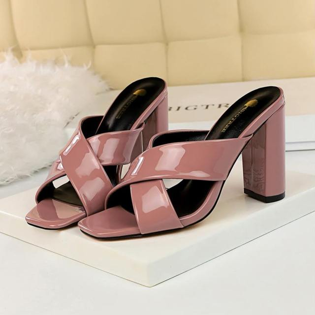 9588dbec42 EOEODOIT High Square Heel Leather Pumps Slippers Open Toe Sexy Summer Heels  Sandals Shoes Women Party Club Shoes 9 CM New 2019
