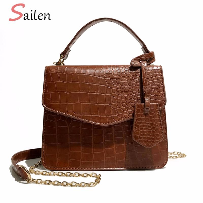 Saiten Crocodile Leather Women Handbags Fringe Tassel Crossbody Bags For Women Small Bag With Chain Fashion Ladies Messenger Bag сумка через плечо bag with chain 2015s xc374 women leather handbags