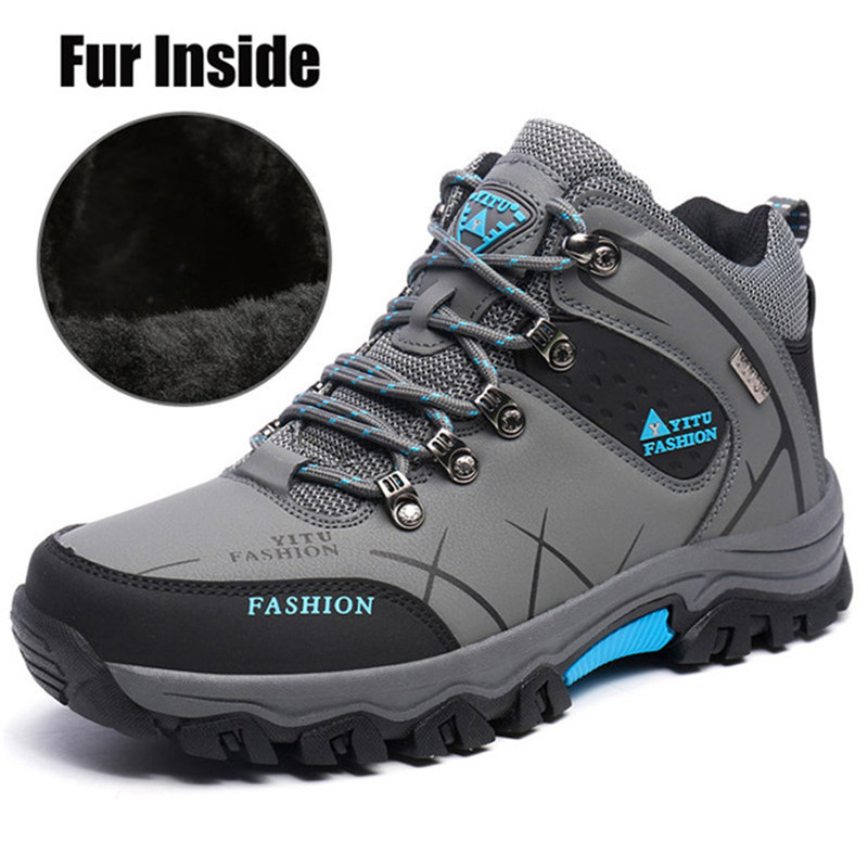 Mvp Boy Mens Hiking Shoes Winter Fur Snow Women Boots Autumn Non-Slip Rubber Sole Men Ankle Boots Waterproof Men Shoes Footwear