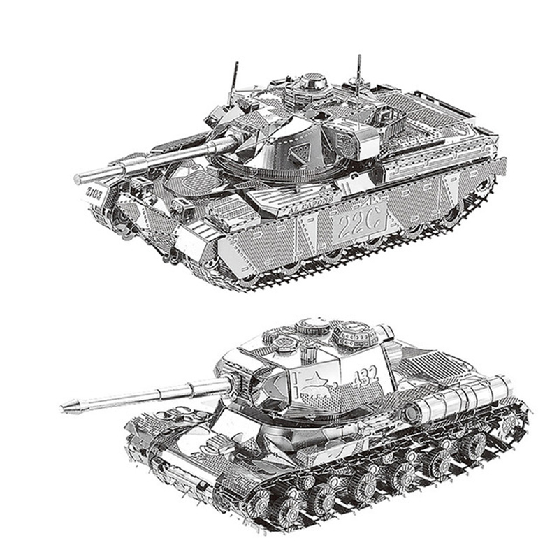 2pc Set Nanyuan 3D Metal Puzzle JS-2 Tank & Chief Tank MK50 Military Model DIY Laser Cut Assemble Jigsaw Toys Desktop Decoration